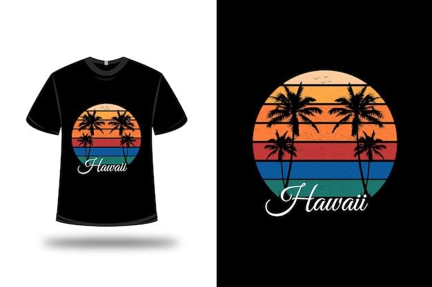 Tee shirt hawaii couleur vert jaune et orange