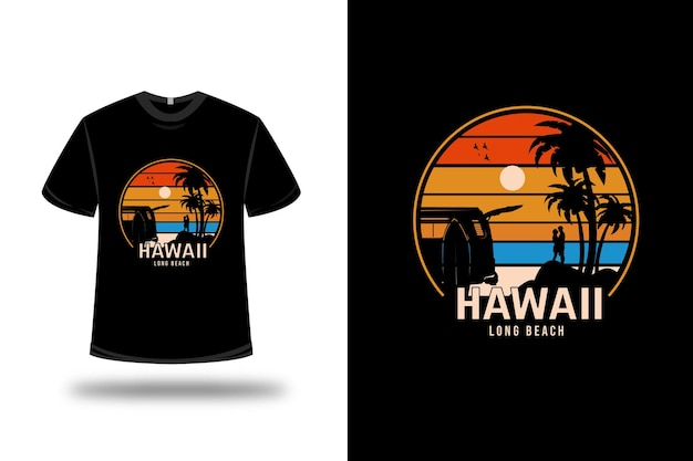 Tee shirt hawaii long beach couleur orange jaune et bleu