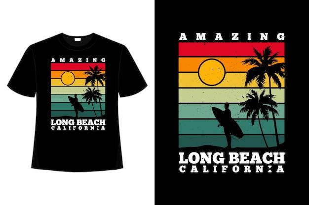 Tee shirt incroyable plage californie rétro