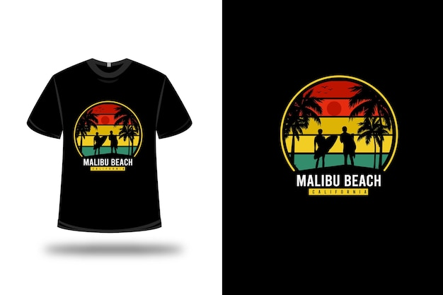 Tee shirt malibu beach california couleur orange jaune et vert