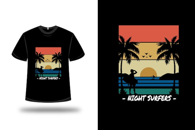 Tee shirt night surfers couleur orange jaune clair bleu et noir