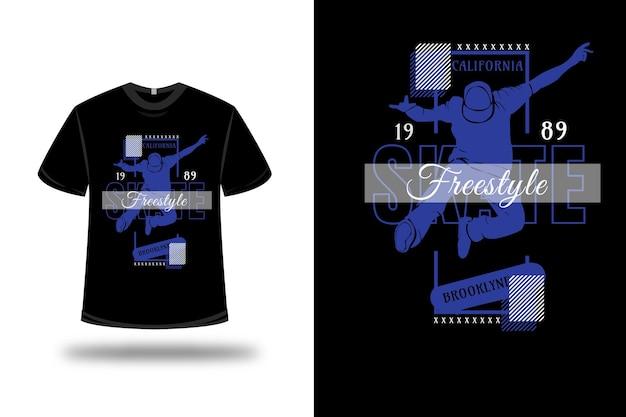 Tee shirt skate board freestyle brooklyn couleur bleu