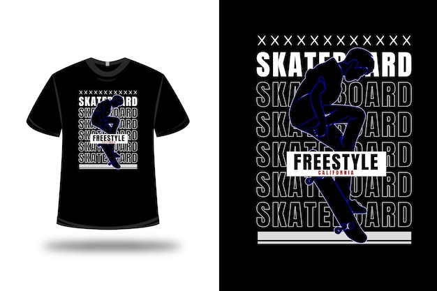 Tee shirt skateboard freestyle california couleur bleu et blanc