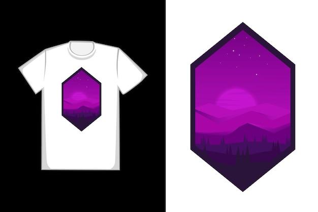 Tee shirt trois montagnes carrées et pinède couleur noir et violet