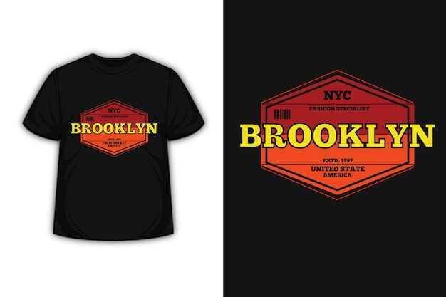 Tee shirt typographie brooklyn etats unis america couleur orange et jaune