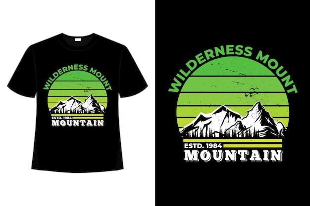 Tee shirt wilderness mount mountain pine tree rétro beau dégradé