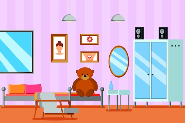 Teen room for girl flat composition avec miroir de meubles et photos sur mur lilas