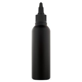 Teindre la bouteille de couleur de cheveux. tube cosmétique noir