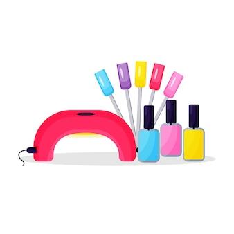 Teintes à la mode de vernis gel avec une lampe pour l'extension des ongles et une palette.