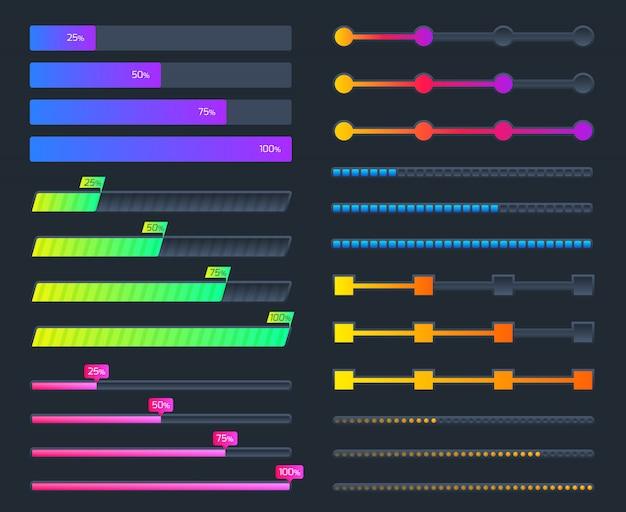 Téléchargement en cours des éléments d'interface. jeu de barres de chargement de vecteur de progrès futuriste isolé
