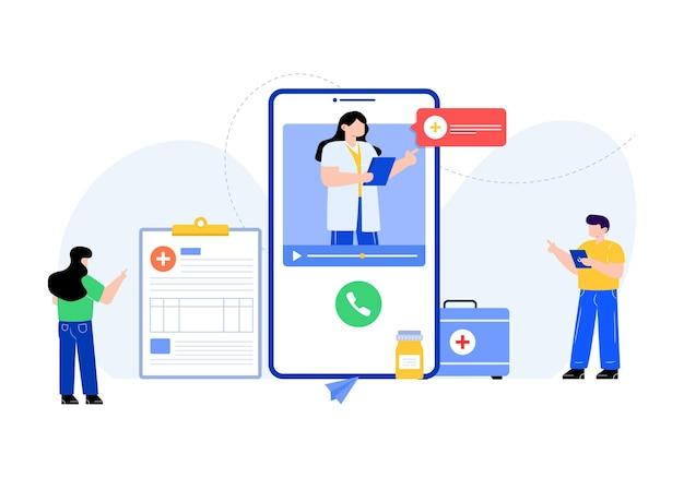 Téléchargement d'illustrations modifiables à plat de service médical en ligne