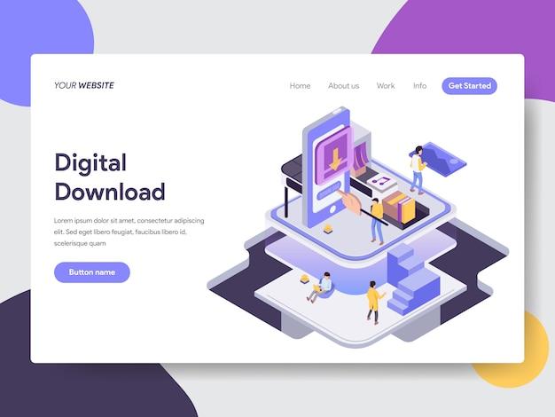 Téléchargement numérique illustration isométrique pour les pages web