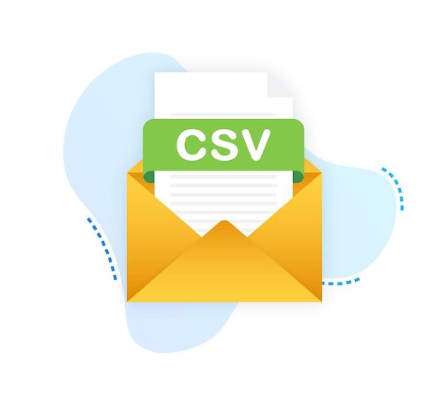 Télécharger le bouton csv sur l'écran de l'ordinateur portable concept de téléchargement de document