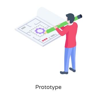 Téléchargez l'illustration isométrique premium du modèle commercial prototype