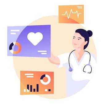 Téléchargez l'illustration plate premium du cardiologue