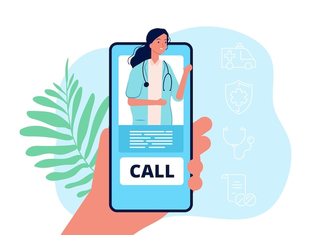 Télémédecine. main tenant le téléphone, service mobile médical. concept de vecteur de consultation de médecin à distance. illustration médecin en ligne, consultation et soins à distance