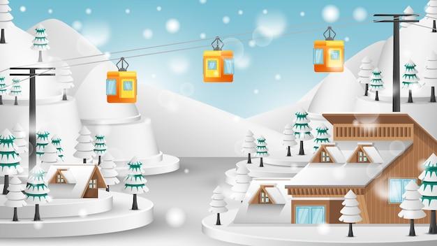 Téléphérique dans le paysage d'hiver