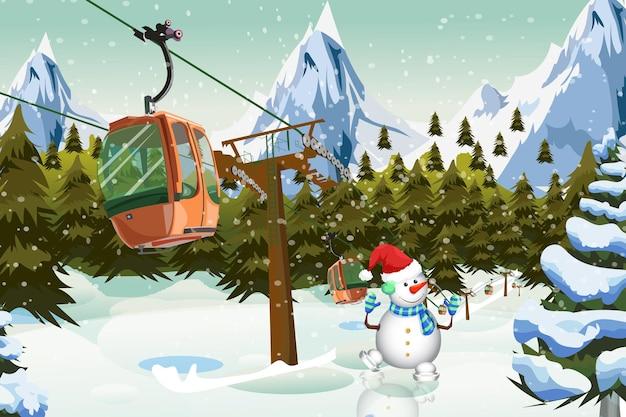 Téléphérique de montagnes d'hiver avec le temps de noël de remontée mécanique de bonhomme de neige