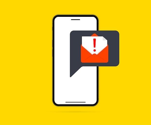 Téléphone avec alarme d'alerte de virus d'avertissement à l'écran. notification de malware sur smartphone. concept mobile de sécurité, risque de sécurité. signalement d'un virus, spam, application malveillante ou piratage d'un téléphone portable