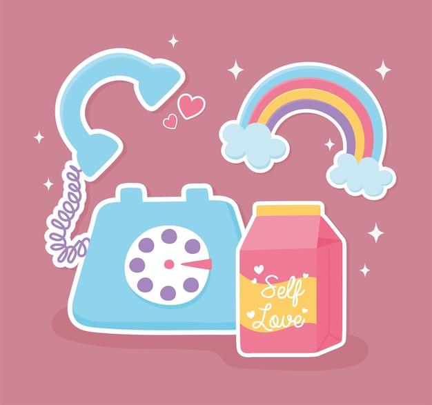 Téléphone arc-en-ciel et boîte à jus décoration cartoon style autocollant illustration