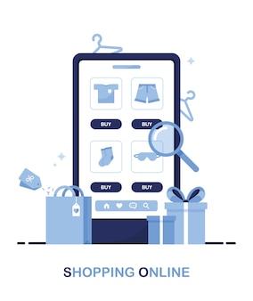 Téléphone avec un catalogue de boutique en ligne avec des vêtements pour la recherche de produits sur la page. bleu