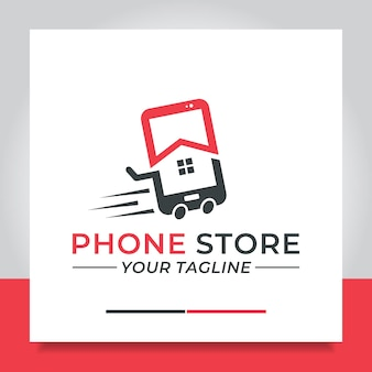Téléphone de chariot de conception de logo de marché à la maison