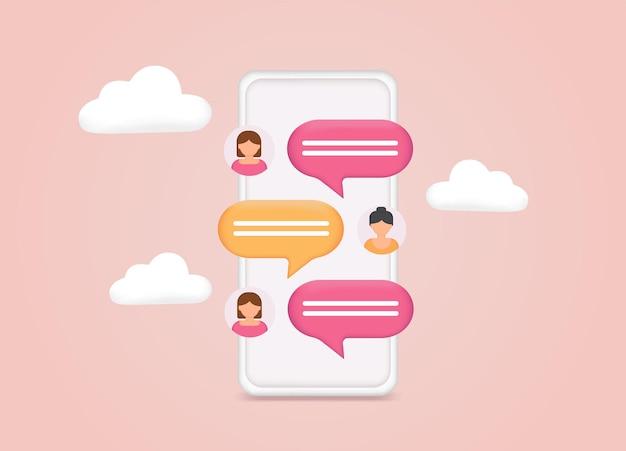 Téléphone avec chat sms sur l'écran du téléphone mobile messagerie à l'aide d'une application de chat ou d'un réseau social web 3d