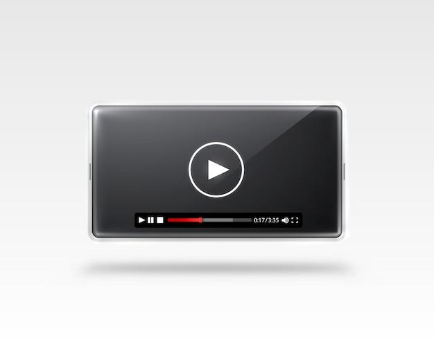 Téléphone avec un écran noir, cadre vidéo payer isolé sur blanc.