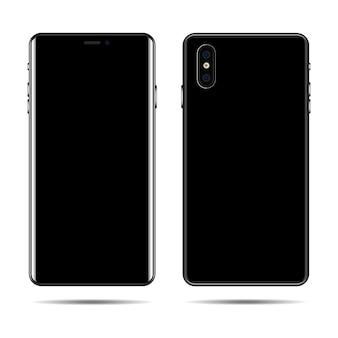 Téléphone avec écran vide. vue arrière et avant