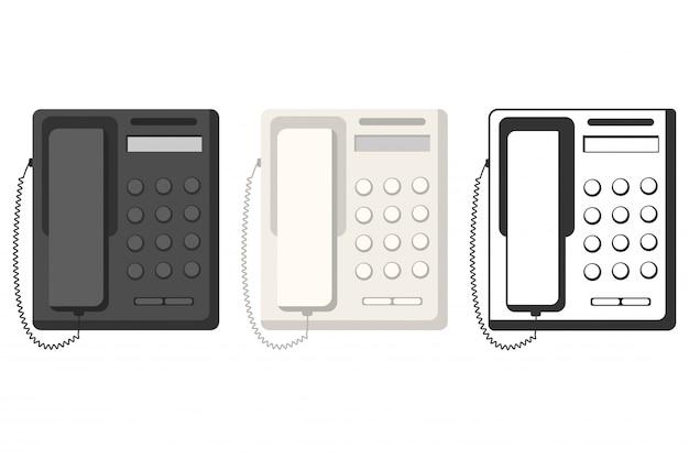 Téléphone fixe vue de dessus plat ensemble isolé