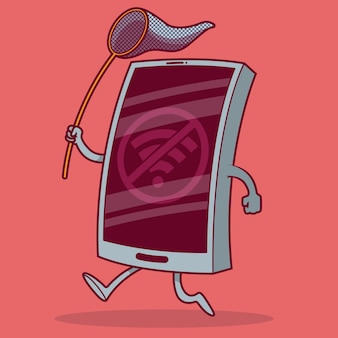 Le téléphone fonctionne en essayant d'attraper le signal wifi. connecté, internet, médias sociaux, téléphone portable, smartphone, futur concept de design