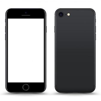 Téléphone gris avec écran blanc isolé.