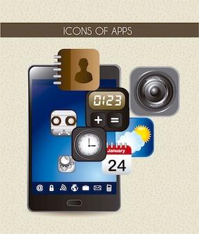 Téléphone avec des icônes d'applications sur l'illustration vectorielle texuture