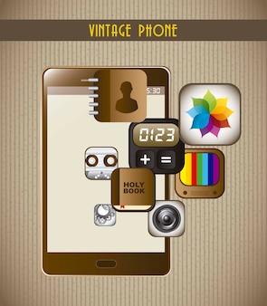 Téléphone avec icônes d'applications sur vecteur de carton