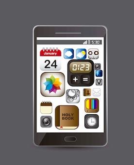 Téléphone avec des icônes d'applications sur le vecteur de fond bray