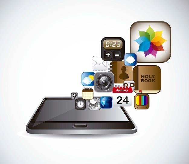 Téléphone avec des icônes d'applications sur le vecteur de fond gris