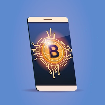 Téléphone intelligent cellulaire avec icône bitcoin digital web money crypto currency concept
