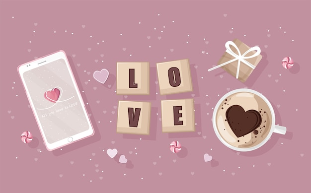 Téléphone intelligent avec composition de jour romantique. coffrets cadeaux, café en forme de coeur