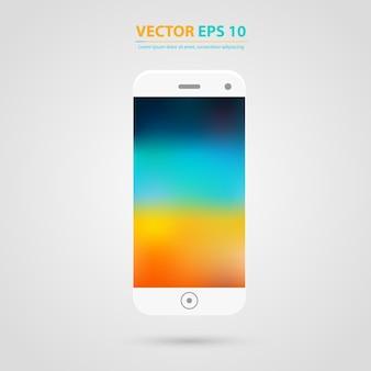 Téléphone intelligent avec isolé. vector blanc réaliste.