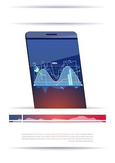 Téléphone intelligent moderne avec des graphiques et des graphiques modèle lieu de bannière pour le texte