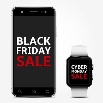 Téléphone intelligent et montre intelligente avec texte de vente vendredi noir et cyber lundi