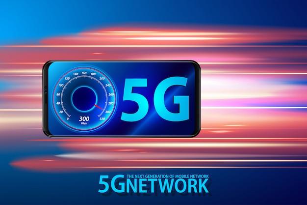 Téléphone intelligent et symbole 5g, concept de système sans fil réseau 5g.