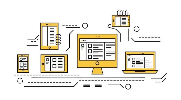 Téléphone intelligent, tablette, ordinateur portable et ordinateur de bureau. site web adaptatif. éléments de conception de ligne fine et plate. illustration vectorielle