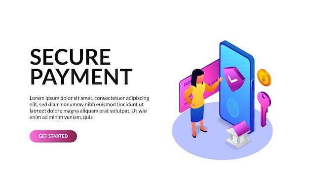 Téléphone isométrique 3d pour le paiement de sécurité au concept d'illustration de l'application bancaire avec concept de modèle de page de destination femme