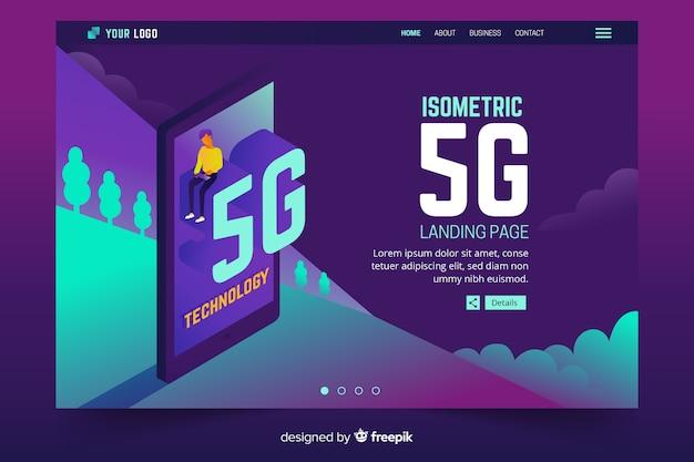 Téléphone isométrique avec page de destination 5g