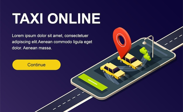 Téléphone isométrique avec route, voitures de taxi et broche de localisation rouge sur fond noir. modèle de page de destination.