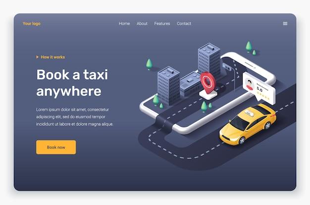 Téléphone isométrique avec voiture de taxi, ville, épingle de localisation et évaluation du conducteur. modèle de page de destination.