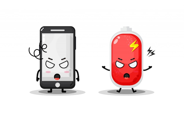 Téléphone mignon et batterie avec des expressions en colère