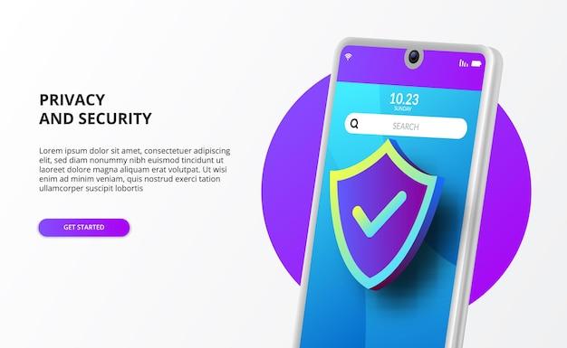 Téléphone mobile 3d avec protection de bouclier 3d pour les données de logiciels malveillants de virus de pare-feu de protection de confidentialité et de sécurité