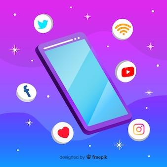 Téléphone mobile anti-gravité avec éléments